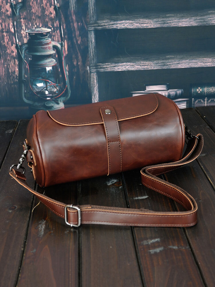 Men Retro Cylinder Bag Crossbody Bag Shoulder Bag