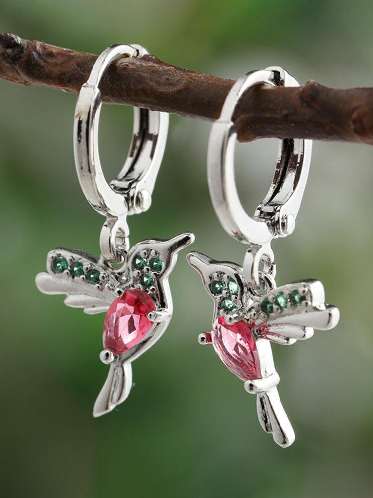 Alloy Cute Micro-set Bird-shape Earrings For Women