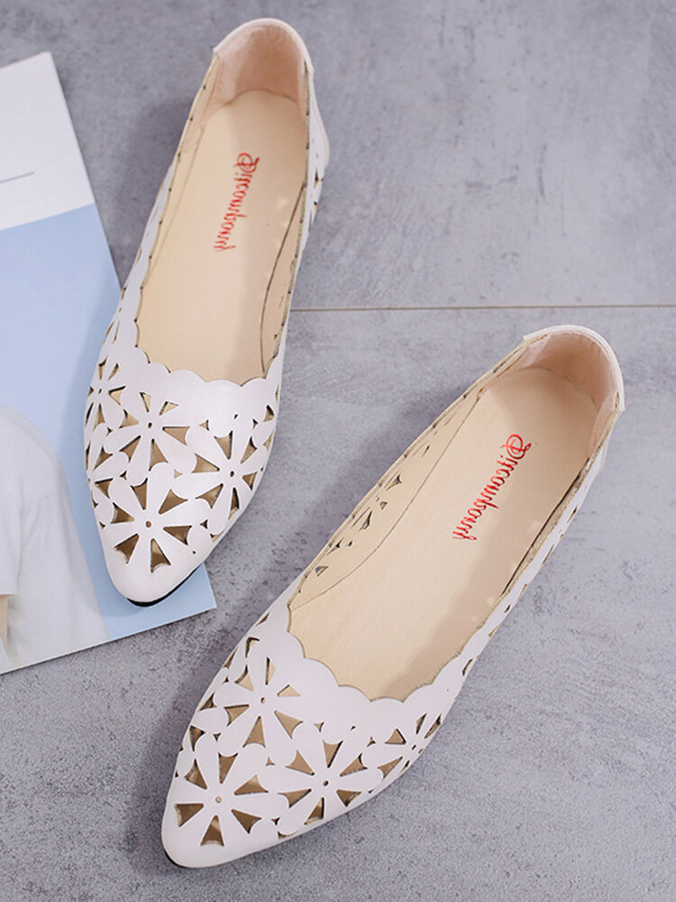 Women Casual Brief Hollow Out Breathable Pointed Toe Flat Loafers Shoes