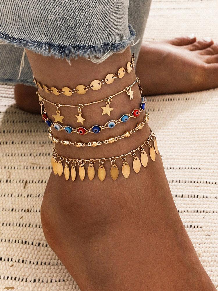 Bohemian Metal Pentagram Tassel Pendant Chain Anklet Geometric Devil's Eye Multi-layer Anklet