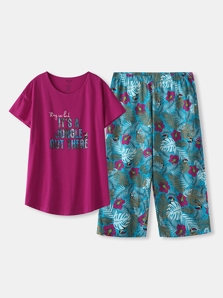 Women Cotton Pajamas Sets Letters Top With Floral Tropical Print Panty Sleepwear For Summer