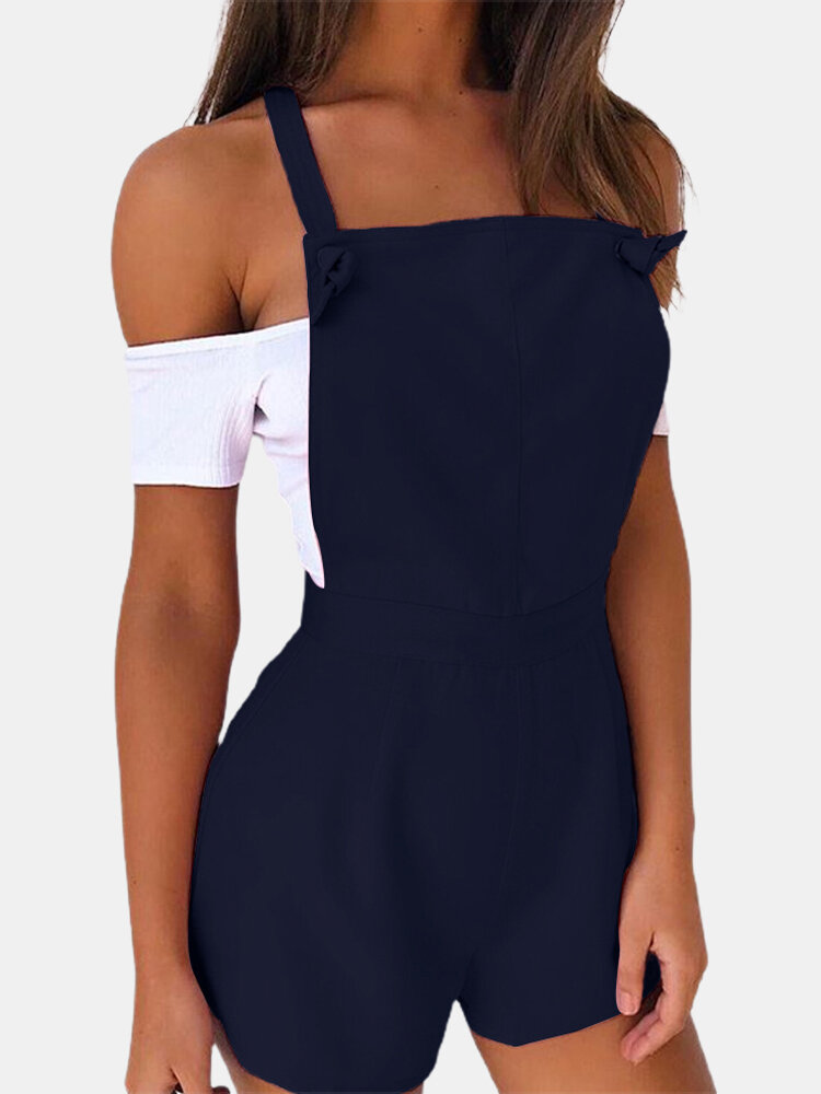 Solid Color Knotted Short Sleeveless Casual Romper for Women