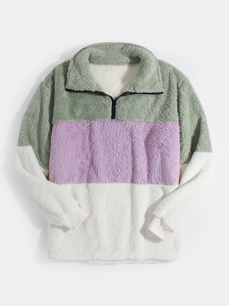 Mens Patchwork Half Zipper Fluffy Lapel Casual Teddy Sweatshirts