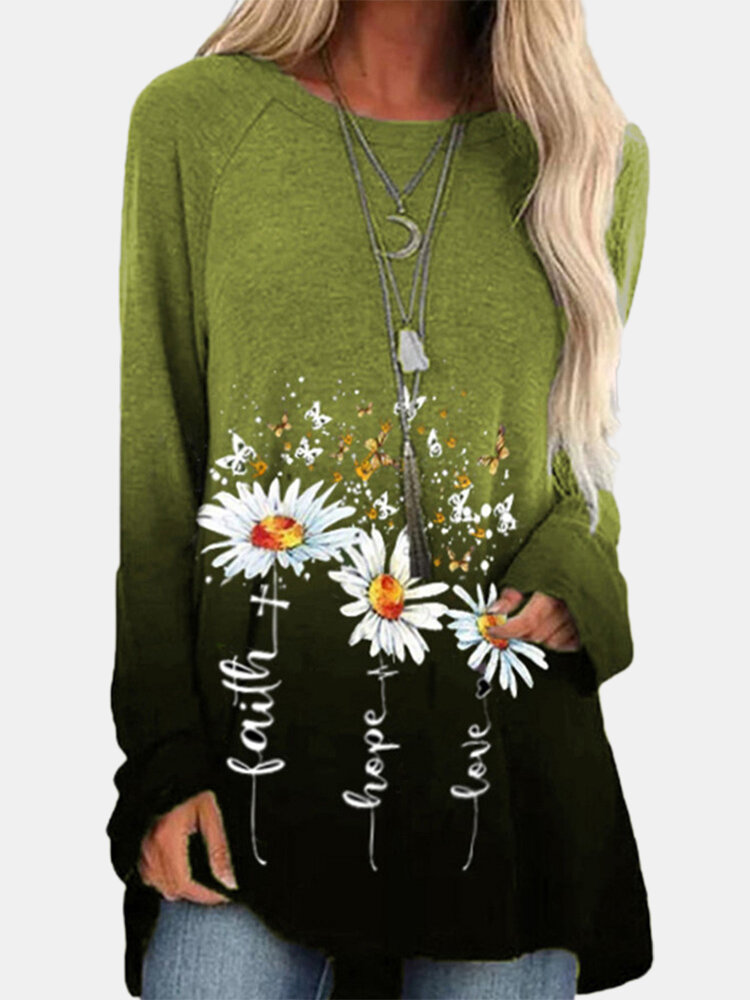 Calico Print Gradient Color Long Sleeve Loose Casual T-Shirt