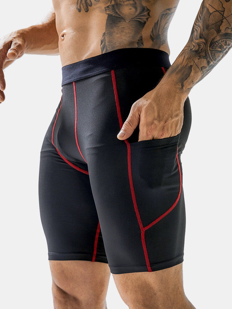 Solid Color Breathable Stitching Design Sport Legging Running Stretch Shorts With Side Pockets