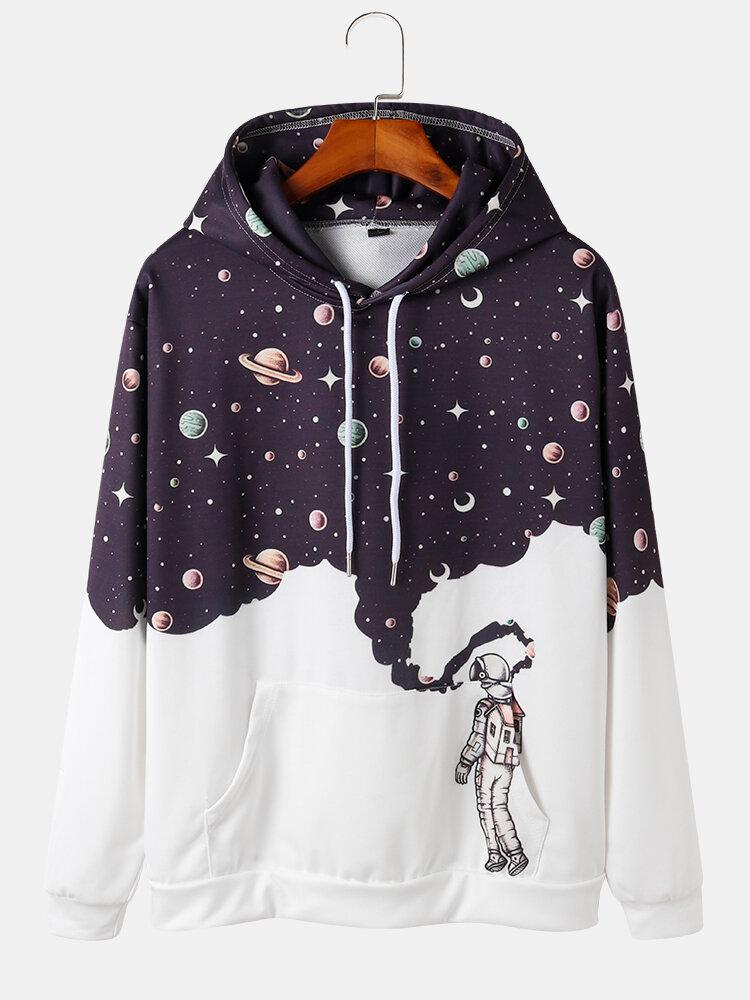 Mens Cute Galaxy & Astronaut Print Pocket Long Sleeve Hoodie