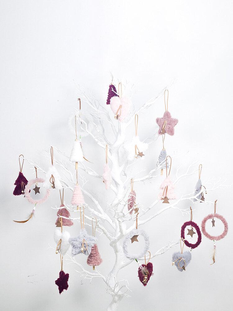 5Pcs INS Style Christmas Plush Decoration Pendant Home Christmas Tree Decor Pendant