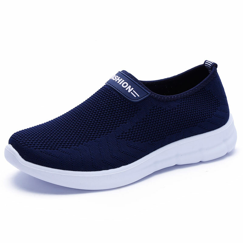 Men Knitted Fabric Comfy Breathable Slip On Casual Walking Shoes