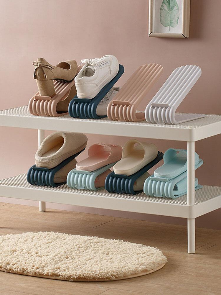 1Pcs Fashion Storage Shoe Hanger Durable Adjustable Shoe Organizer Footwear Support Slot Space Saving Cabinet Closet Shoe Rack