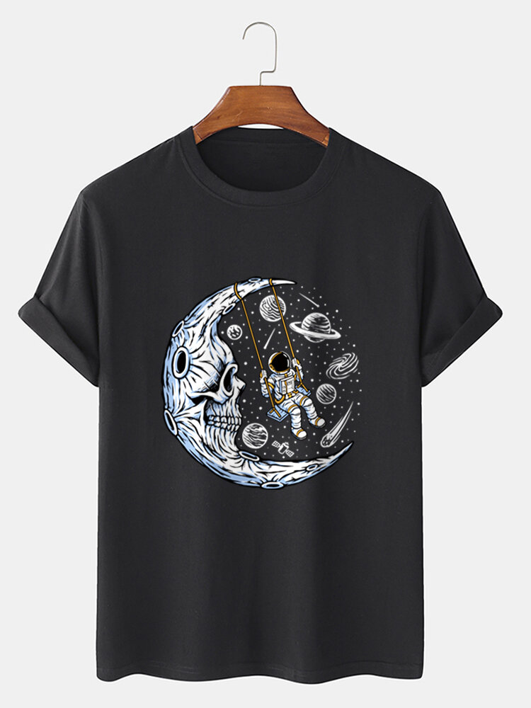 Mens Funny Planet Astronaut Graphic 100% Cotton Short Sleeve T-Shirts