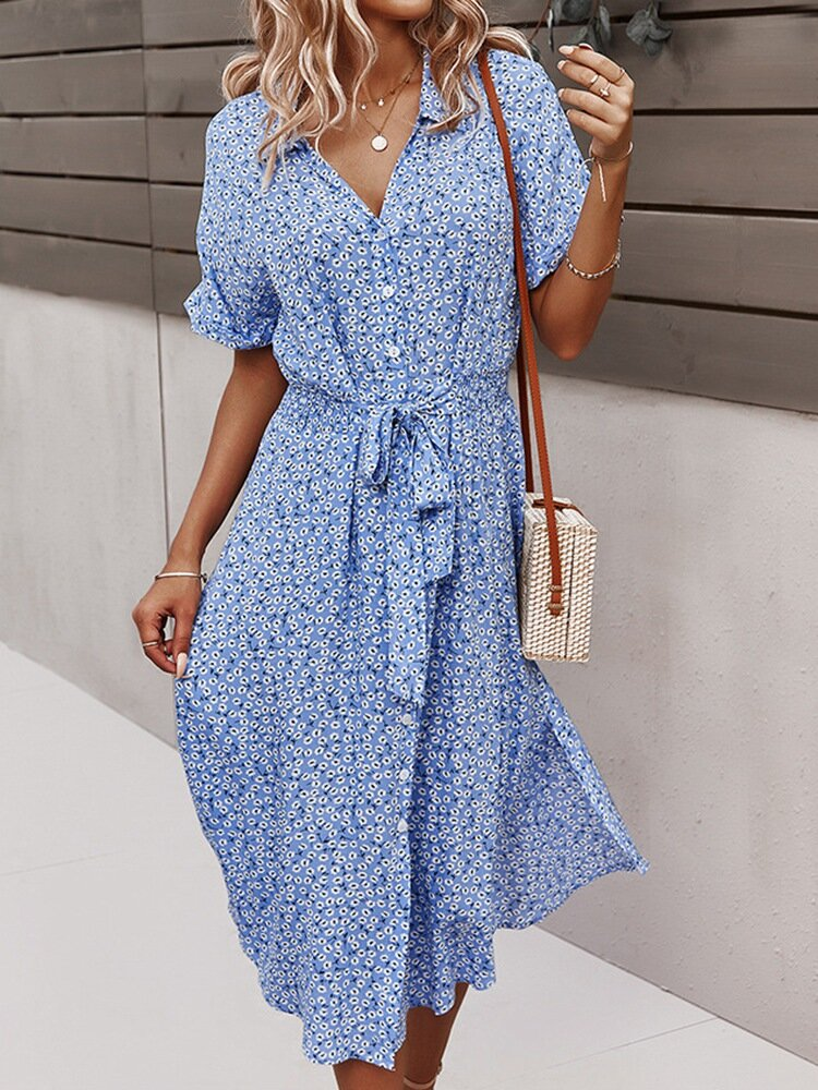 Bohemian Floral Print Lapel Button Knotted Short Sleeve Dress For Women