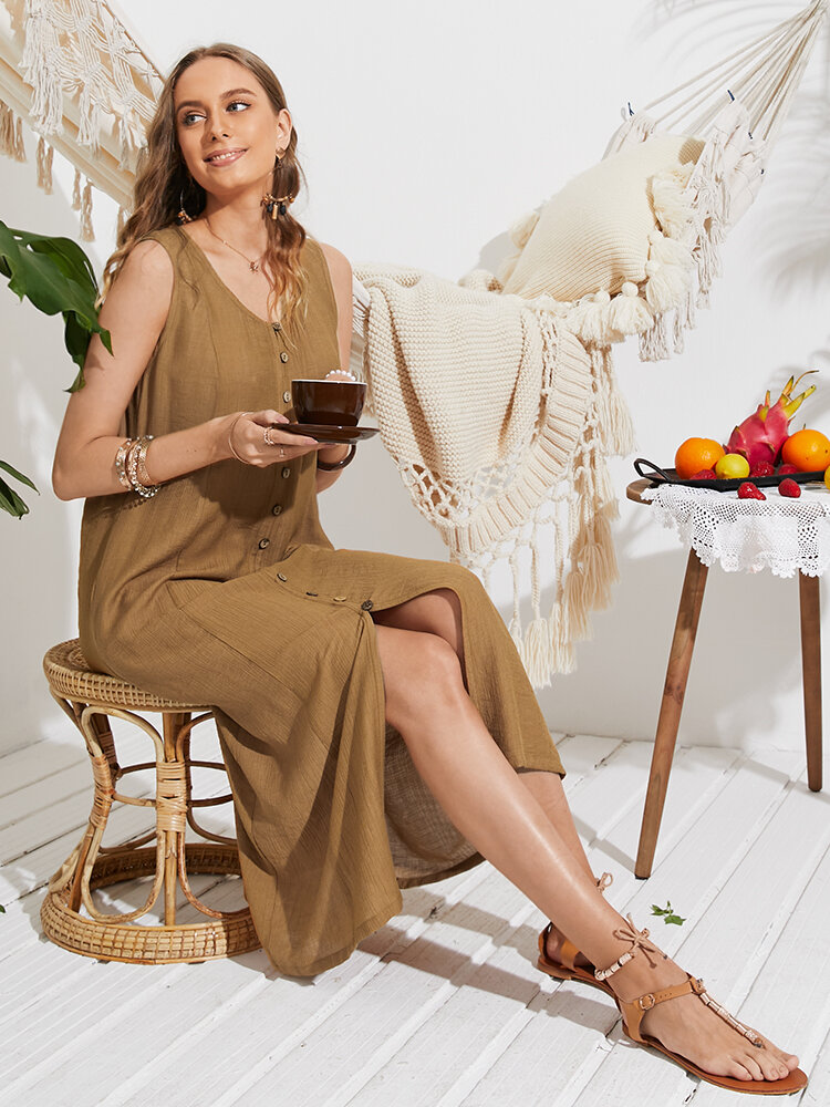 Solid Color Sleeveless Button Slit Casual Dress for Women