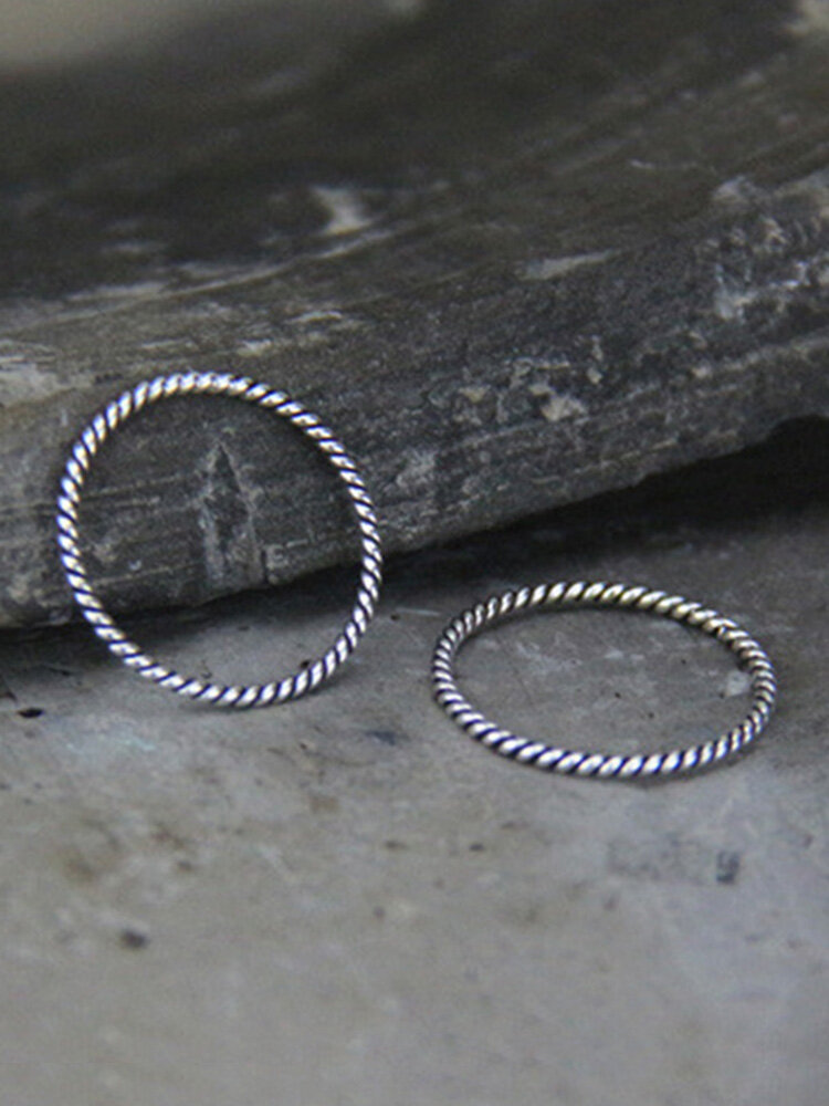 Vintage 925 Silver Twist Ring Extra-Fine Women Mix-Match Tail Ring Jewelry Gift