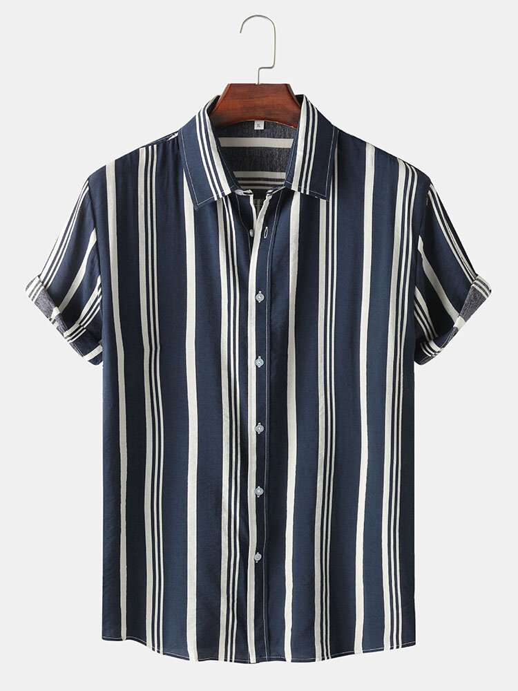 Mens Striped Lapel Button Up Casual Short Sleeve Shirt