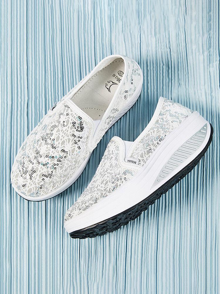 Women Mesh Breathable Sequined Decoration Rocker Sole Walking Shoes