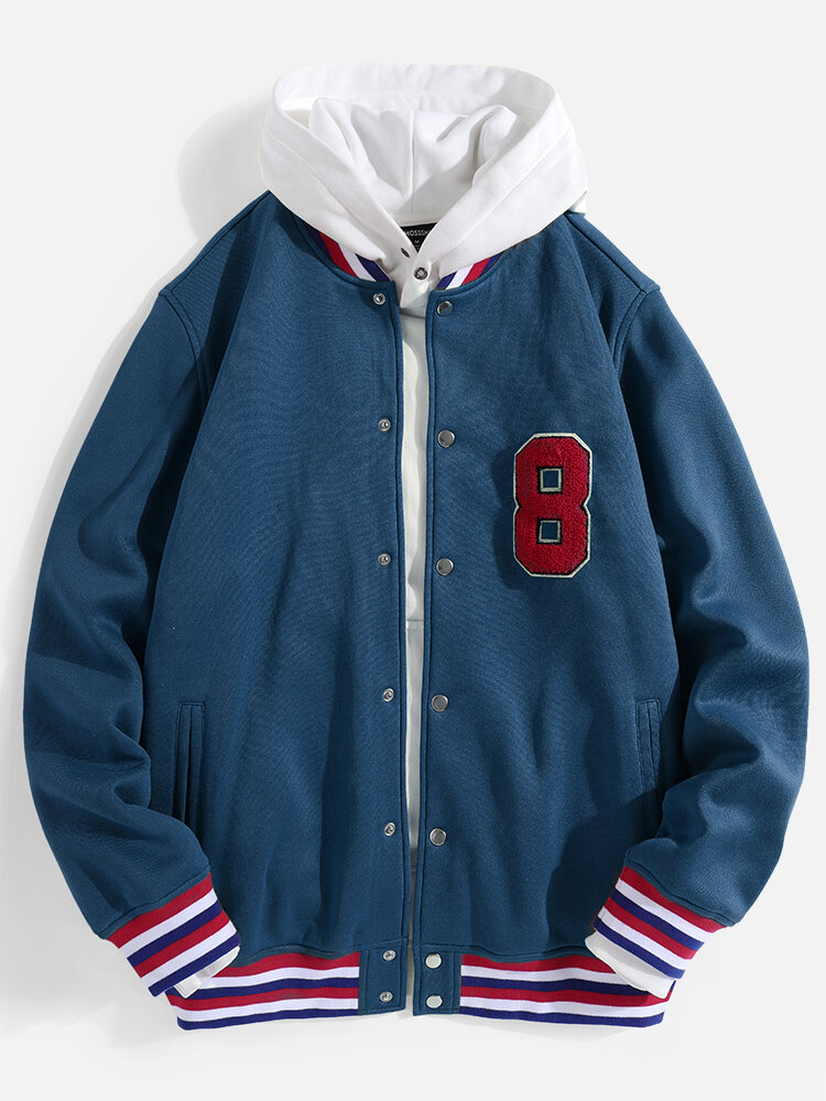 Mens Number Patched Baseball Collar Snap Button Jacket With Contrast Ribbed Trims