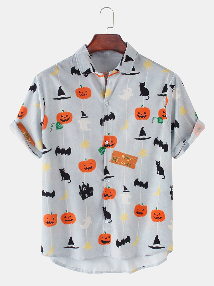 Mens Halloween Funny Pumpkin Cat Printed Casual Loose Short Sleeve Shirts