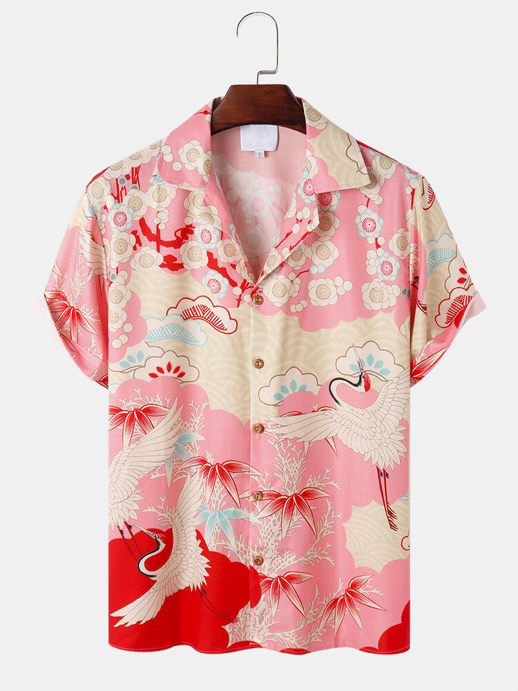 Mens Crane Graphics Camp Collar Japanese Style Short Sleeve Shirt
