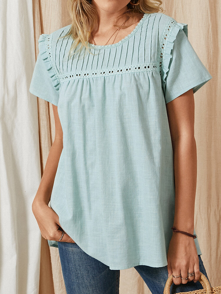 Solid Color Ruffle Short Sleeve Casual Blouse