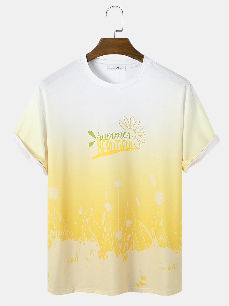 Mens Yellow Ombre Letter Print Loose Street Short Sleeve T-Shirts