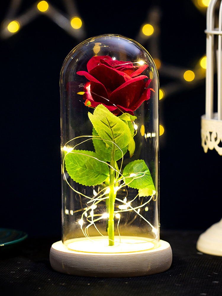 Creative Glass Cover Rose Flower Decoration Gift Eternal Flower Mother's Day Gift