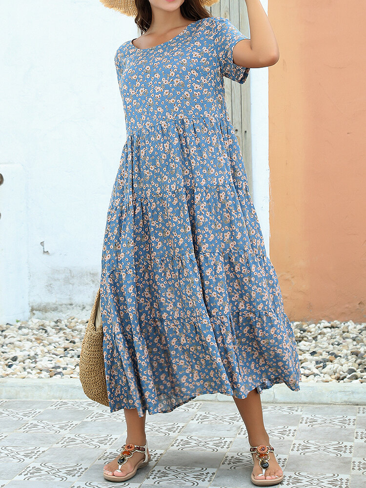 Floral Print Pleated Patchwork Short Sleeve Dress For Women