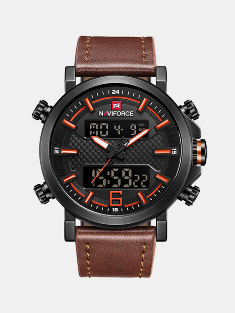 NAVIFORCE 9135 Dual Display Digital Watch Leather Band Chronograph Waterproof Mens Watches