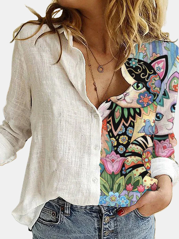 Cartoon Cat Flower Printed Long Sleeve Turn-down Collar Patchwork Blouse For Women