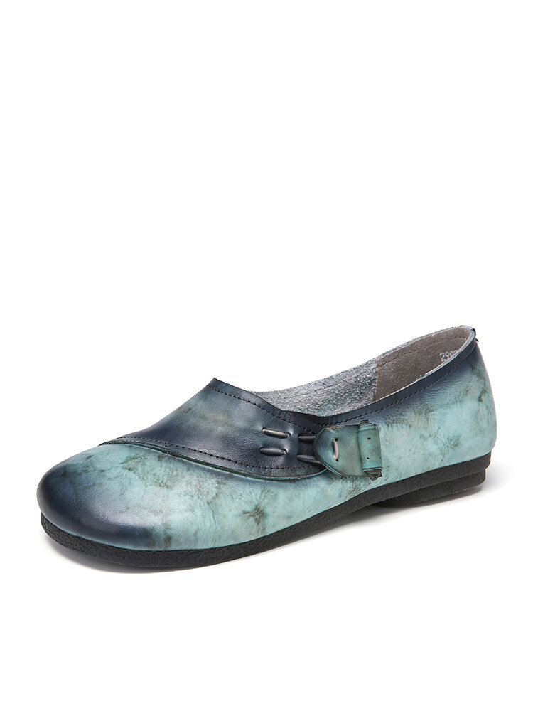 SOCOFY Genuine Leather Print Veins Slip On Soft Flat Loafers Casual Vintage shoes