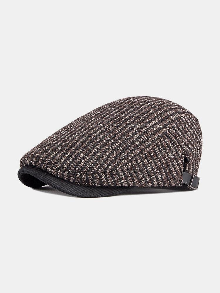 Men Peaked Cap Autumn Winter British Retro Beret Casual Forward Cap Flat Cap