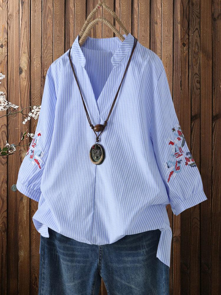 Estampado de rayas bordado con cuello en V Plus Talla Manga de linterna Camisa