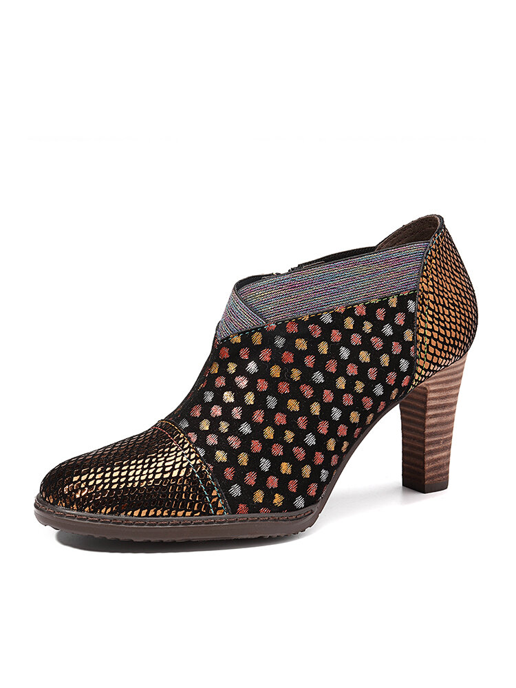 SOCOFY Comfy Genuine Leather Colorful Wave Dot Stitching Zipper High Heel Pumps
