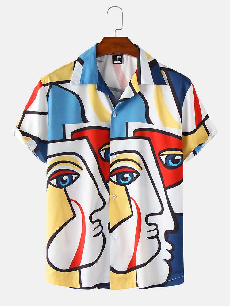 Mens Colorful Abstract Face Printed Revere Street Short Sleeve Shirts