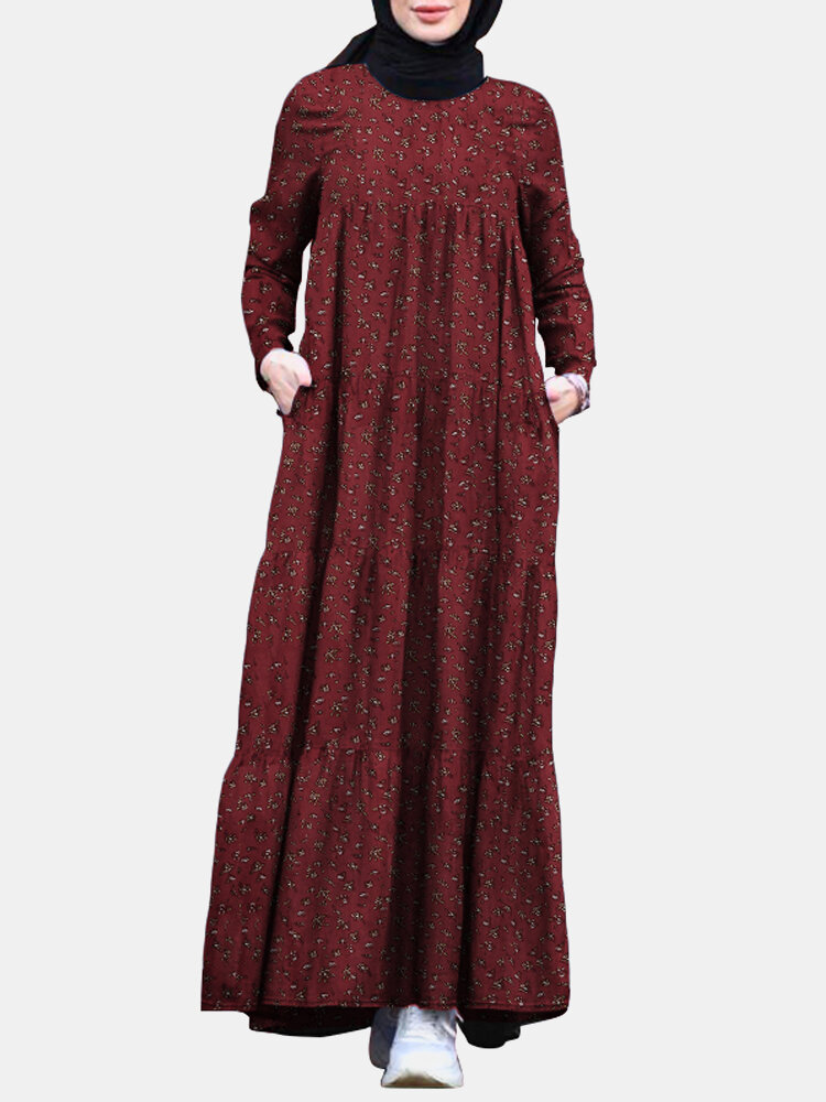 Floral Print Pocket Long Sleeve Casual Maxi Dress For Women