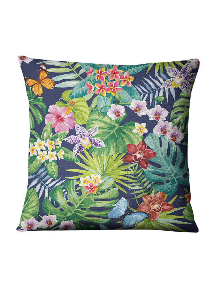 Tropical Green Plants Flowers Linen Pillowcase Home Fabric Sofa Cushion Cover