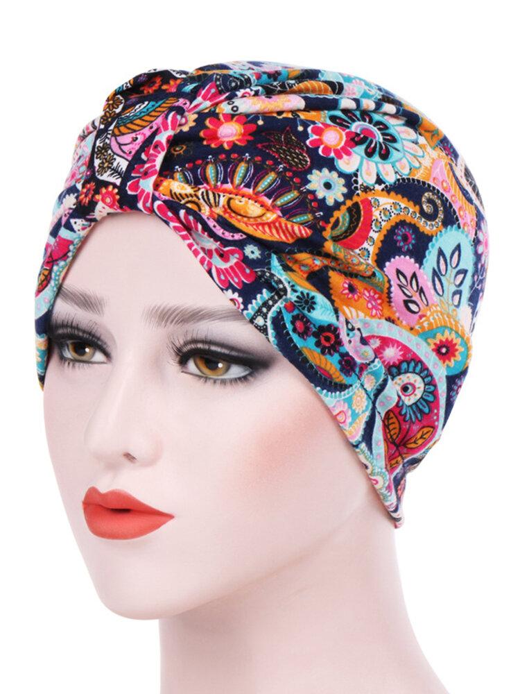 إمرأة مزرعة نمط الأزهار القطن قبعة صغيرة القبعات قبعات مرنة عارضة عقال مسلم
