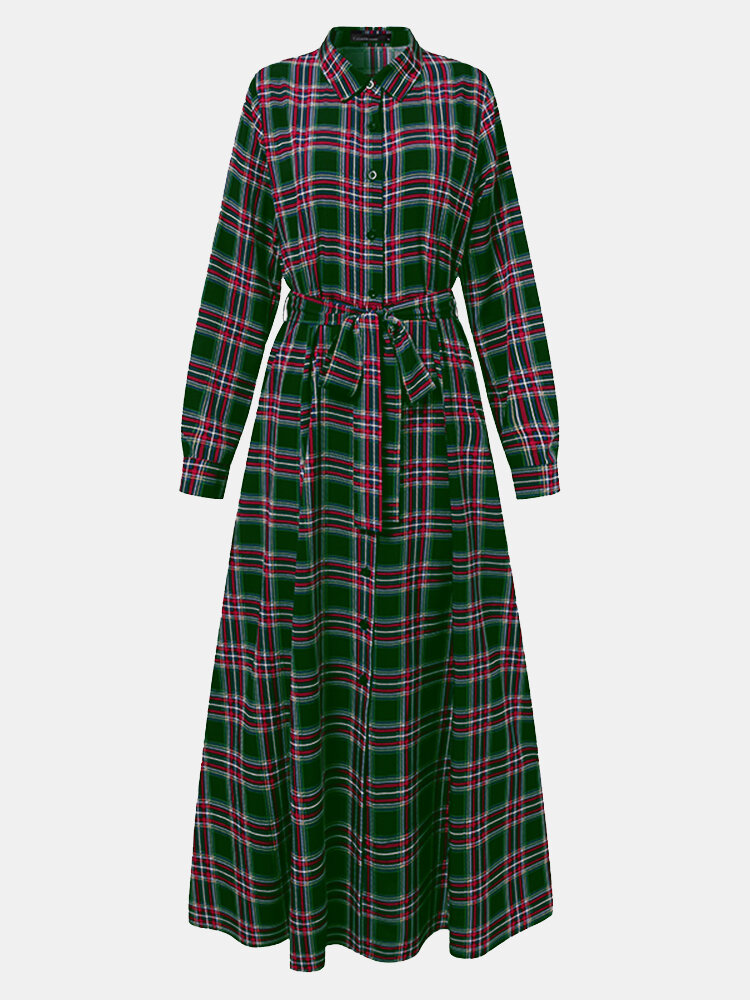 Plaid Print Knotted Long Sleeve Lapel Casual Dress For Women