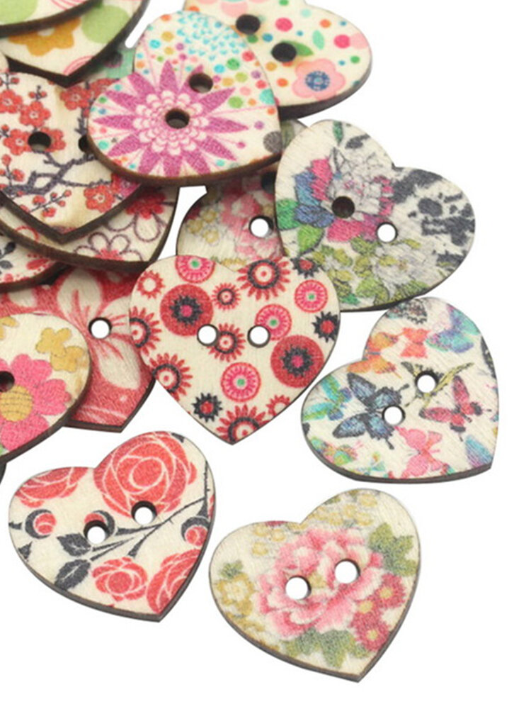25mm 50pcs Natural Wood Sewing Buttons Scrapbooking Pattern Printed Heart Buttons Mixed
