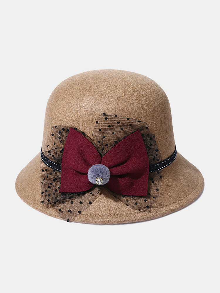 Women Woolen Cloth Solid Bowknot Decoration Outdoor Warmth Breathable Bucket Hat