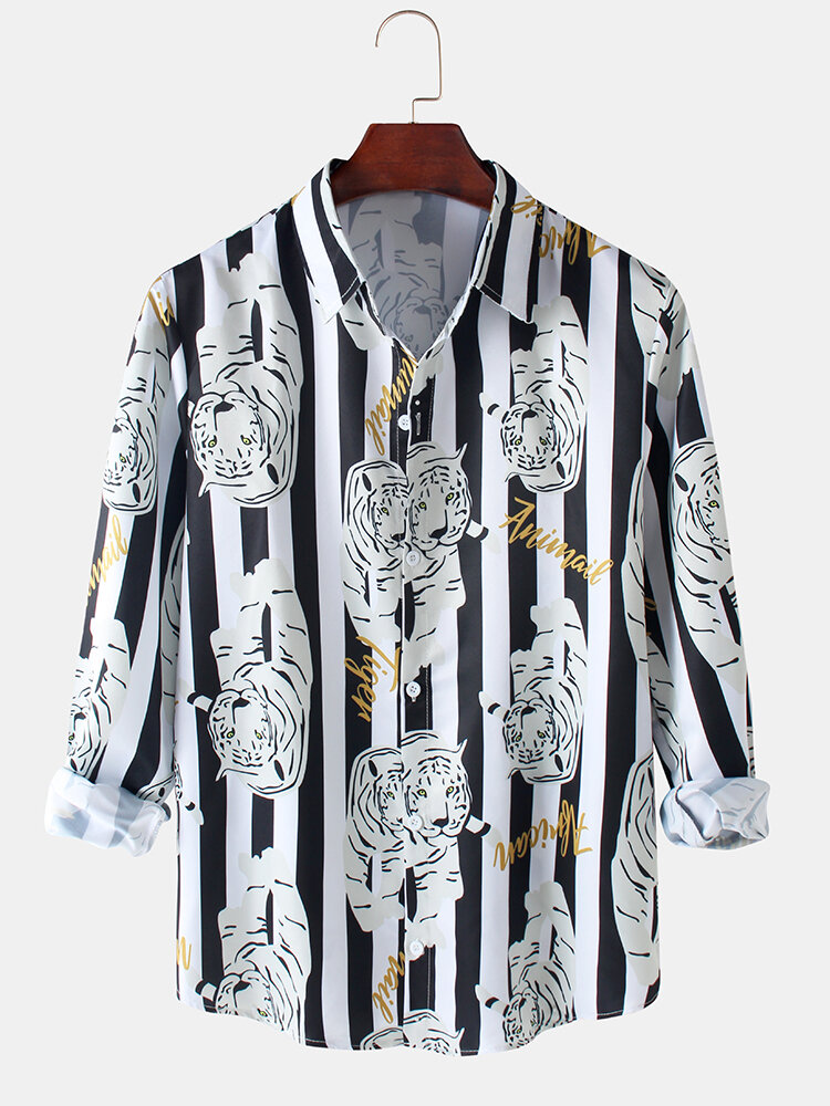 Mens Tiger Letter Stripe Print Relaxed Fit Casual Long Sleeve Shirts