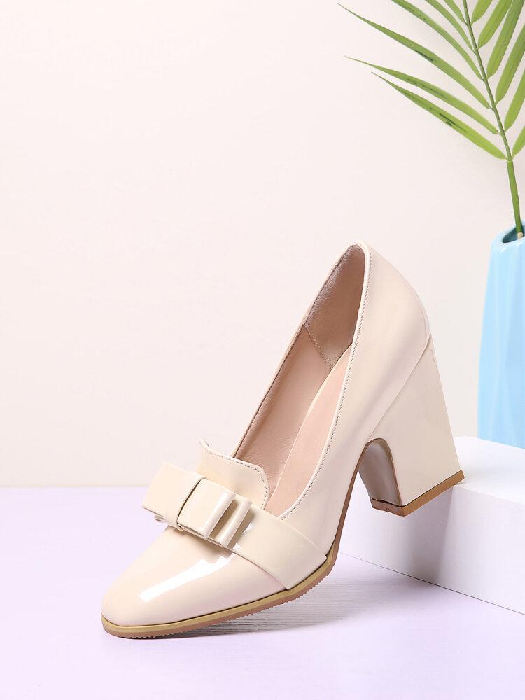 Mujer Elegante Cuero Color Sólido Patrón Zapatos Mocasines Bowknot