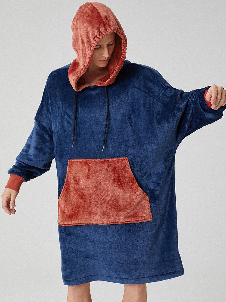 Men Fleece Hooded Colorblock Blanket Robes Contrast Heated Warm Oversied Blanket Hoodies with Pockets