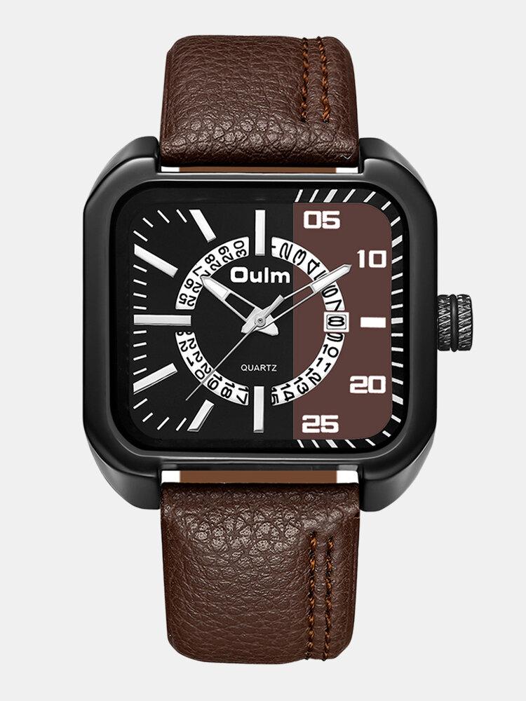 Vintage Square Men Watch Calendar Waterproof Two-Color Dial Quartz Watch