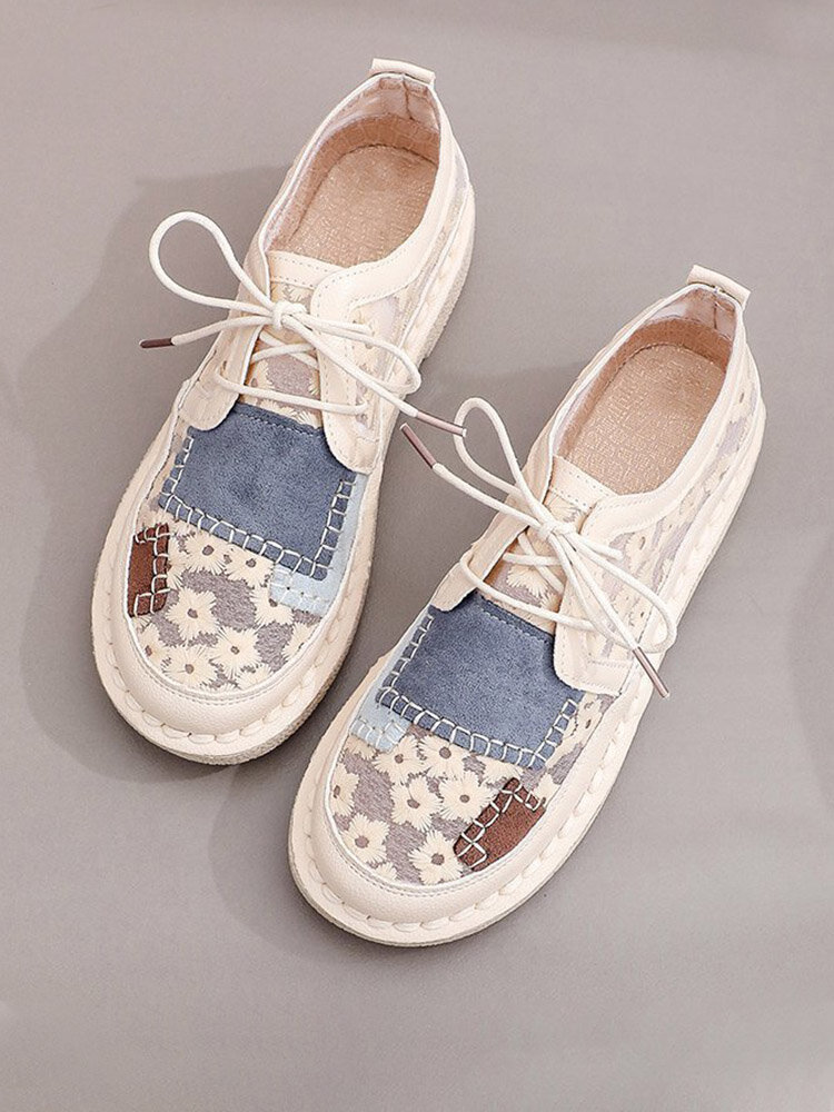 Women Embroidered Flowers Lace Mesh Joint Stitching Cloth Cmofy Casual Flats