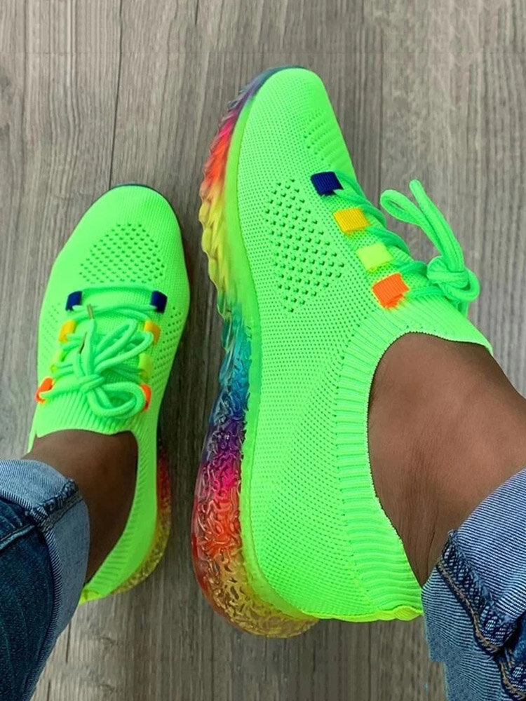 Women Casual Color Block Lace-up Round Toe Flat Antiskid Walking Shoes
