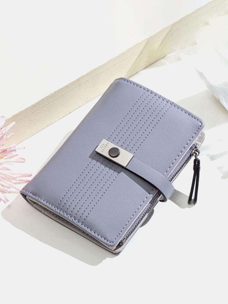 Women 9 Card Slots Zipper Trifold Wallet
