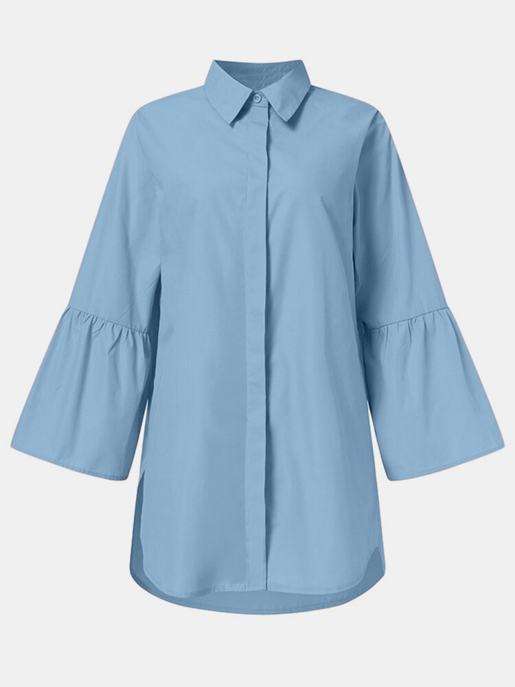 Solid Color Button Long Sleeve Lapel Casual Blouse For Women