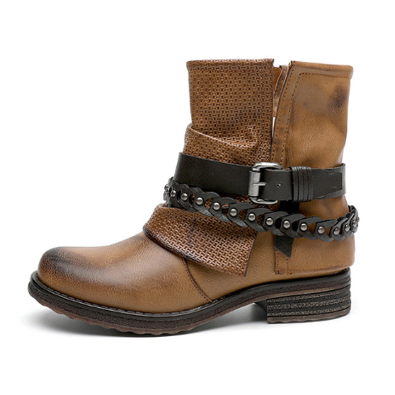 Buckle Leather Chain Decoration Zipper Boots