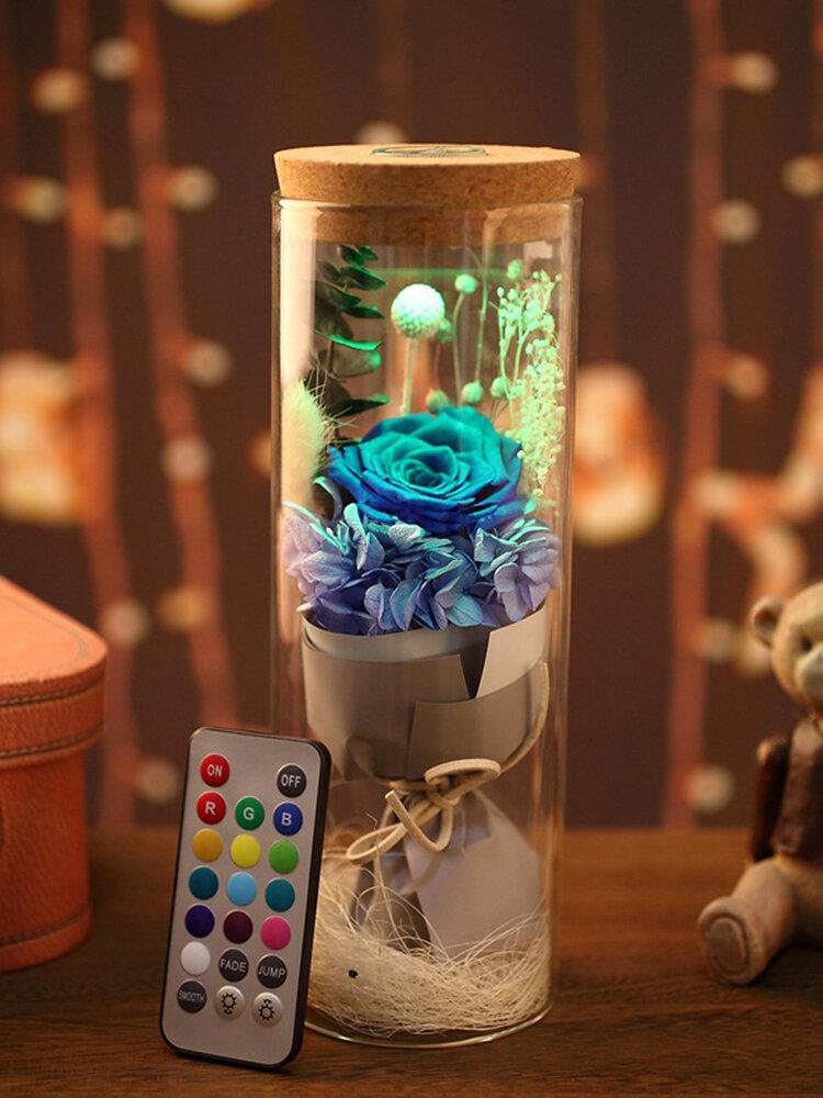 Everlasting Flower Wishing Bottle Luminous Glass Cover Creative Gift Valentine's Day
