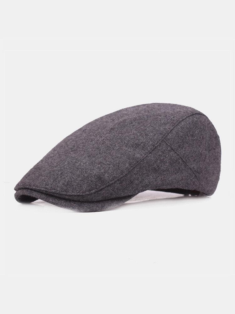 Men Woolen Cloth Solid Color Casual Warmth Beret Flat Cap